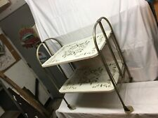 Vintage Mid Century Retro Chrome Folding Tea Bar Serving Cart Tray On Wheels