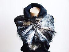 White & black. Wrap wool. Art Scarf. Chunky winter accessory. Alpaca baby