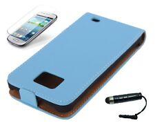 Schutzhülle f Samsung Galaxy S2 i9100 + i9105 Tasche Kunstleder Flip Case blau
