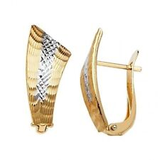 14k Solid Two Tone Gold Diamond Cut Half Huggies Clip 3/4 inch Earrings 10x 22mm