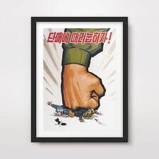 NORTH KOREAN KOREA PROPAGANDA POSTER Art Print Anti Western Pyongyang Fist