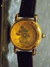 Womens Vintage Disney Mickey Mouse Watch (Coin Bezel)-(Gold Silhouette)-VHTF-New
