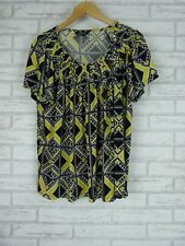 STYLE & CO. WOMAN Top/Blouse Sz 2X, 18  Black, Yellow, White Print