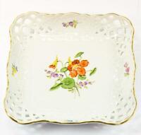Anbiet Schale original Marke Meissen Porzellan Blumendekor mit Goldrand 1. Wahl
