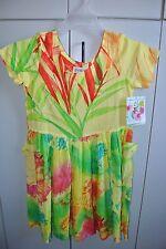 Jams World Girlz Large Colorful Rushes & Spider Mums Shortsleeve Dress/NWT
