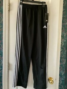 New Adidas Track Pants Black with White Stripes Boys Size L(12/14)
