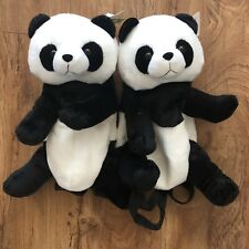 New Lot Of 2 Panda Bear Backpack Bag Adjustable Strap Unisex Kids Toy