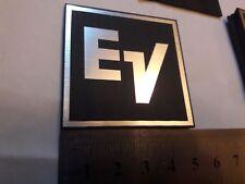 Electro Voice EV plastic logo badge 50 mm square Silver white text