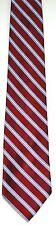 Men's New silk Neck Tie, Red Blue White diagonal Stripe by Croft & Barrow