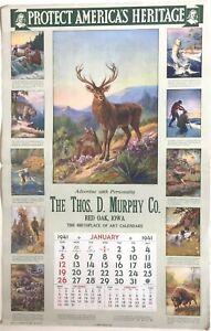 Wildlife- Hunting, Fishing on 1941 Calendar- artist R. Atkinson Fox, Frank Stick