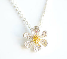 Ladies Dainty Silver Colour Daisy Pendant Necklace Women's Birthday Gift