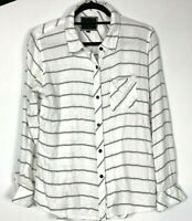 RAILS Womens Blouse Top White Navy Striped Soft Flannel Long Sleeve Medium #A05
