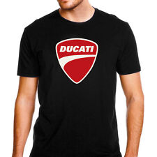 Genuine Official Ducati Red Logo Motorcycle Superbike SBK Black Men Tee T-Shirt