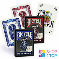 BICYCLE PRO POKER PEEK INDEX PLAYING CARDS DECK MAGIC TRICKS RED BLUE MADE USA