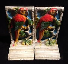 ANTIQUE ORIGINAL HUBLEY PAINTED CAST IRON PARROT MACAW BOOKENDS