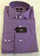 BNWT Boss Hugo Boss Men's Purple Check Dress Shirt 15 Italy Made Egyptian Cotton