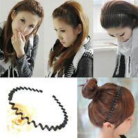 Mens Women Unisex Black Wavy Hair Head Hoop Band Sport Headband Hairband Fashion