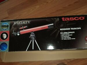 """TASCO BEGINNER 50 X 50  TELESCOPE W/15""""METAL TABLETOP TRIPOD"""