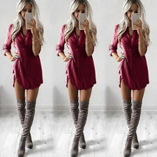 Womens Plain Shirt Dress Ladies Long Sleeve Boyfriend Shirt Dress Hot
