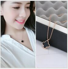 Four Leaf Clover Pendant Rose Gold Stainless Steel Chain Necklace Gift Box PE6