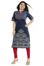 Women Indian Top Kurti Tunic Blue Short Sleeve Kurta Shirt Dress Cotton  MM197
