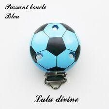 Pince / Clip en bois, attache tétine, passant boucle, Ballon de foot : Bleu
