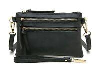 Aitbags Zipper Pocket Crossbody Bag Women's Leather Satchel Handbag Purse Black