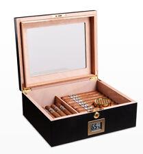 More details for pipita lockable 50-70 cigars humidor storage box glasstop humidifier hygrometer