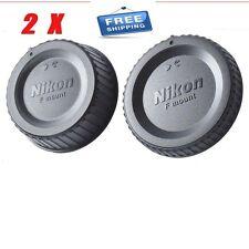 2X Nikon Camera Body Cover + Lens Rear Cap for Nikon D3400 D7100 D5600 D90 D750