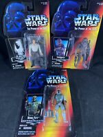 1995/96 Kenner Star Wars The Power of the Force - Boba Fett, Chewy, Han Solo R8