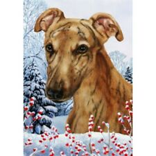 Winter House Flag - Red Brindle Greyhound 15219