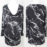 Phase Eight Marble Print Top Size 12 Monochrome Cowl Neck Long Sleeves Black