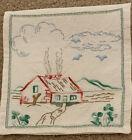 Vintage Linen Handkerchief Storage Case Holder Embroidered Cottage Home