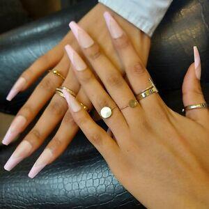 Long baby pink matte ballerina french V tip false fake acryllic press on nails