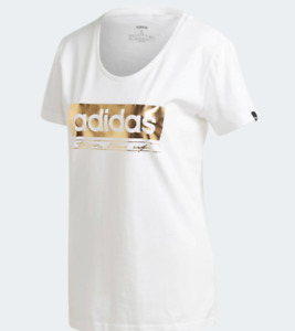 Adidas T Shirt Womens Authentic White Gold Foil Essential Three Stripes Life Tee