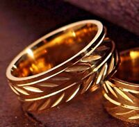 New 8mm Stainless Steel Gold Plated Leaf Mens Ring Womens Band (Size M to X)