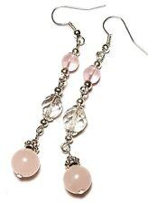 Long Silver Rose Quartz Crystal Earrings Glass Bead Drop Dangle Pierced Hook