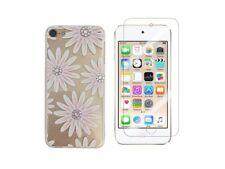 iPod Touch 5, Touch 6 - Coque en gel souple + 1 film verre trempé (Fleur Rose)