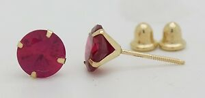 14K Solid Yellow Gold Red Cubic Zirconia Round Stud Earrings [5 Sizes]