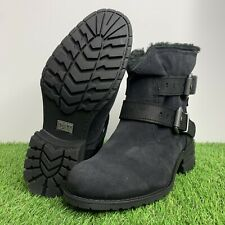 Caterpillar CAT Jory Casual Double Buckle Boots Black Suede Women's Size 8.5