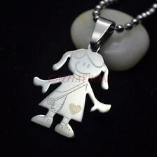 Silver Tone Stainless Steel Little Girl Figure Charm Pendant Necklace Chain 20""