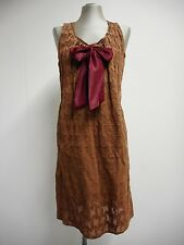 Beautiful Marni dress brown dog-tooth with bow tie summer edition 2010 40 UK8