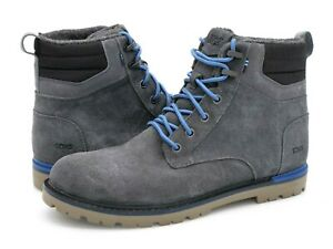 Toms Mens 11 Gray Suede Lace Up Round Toe Flat Comfort Casual Combat Ankle Boots
