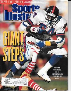 OTTIS ANDERSON SIGNED AUTOGRAPH 1/28/1991 SPORTS ILLUSTRATED NEW YORK GIANTS COA