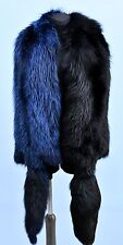 Genuine Real Jet Black & Electro Blue Silver Foxes Fur Huge Boa Stole Wrap Shawl