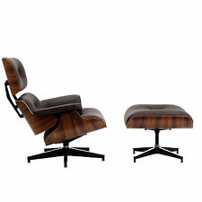 Eames Lounge Chair & Ottoman Reproduction Palisander Brown Italian Leather