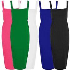 New Ladies Plus Size Square Neck Bodycon Strappy Pencil Dress 8-22
