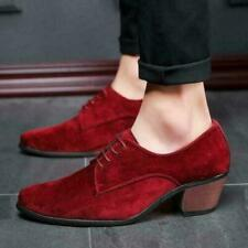 Mens lace up cuban heel Pointed Toe Business formal dress Wedding Suede shoes 9
