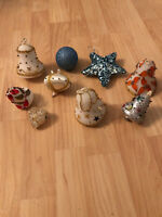 VTG Lot Pin Sequined Beads Christmas Ornaments Hanging Glitter Star Bell Heart