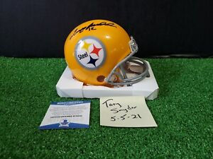Terry Bradshaw Autographed Pittsburgh Steelers Throwback Mini Helmet - BAS COA